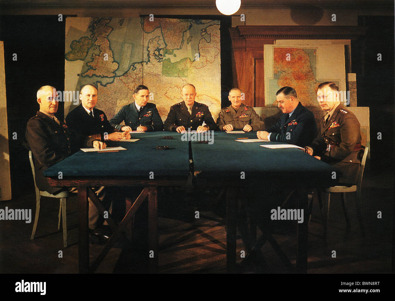 1944 World War II Commanders Allied forces Bradley Ramsey Tedder Eisenhower Montgomery Leight-Mallory Bedell - Stock Image