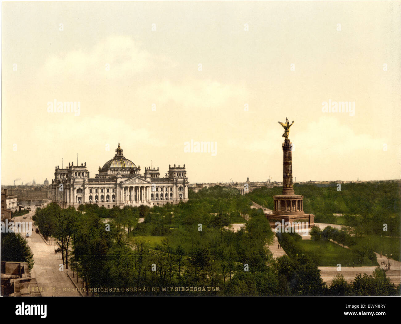 Berlin Reichstag House Triumphal Column Germany Europe Photochrom about 1900 German Empire history historical - Stock Image