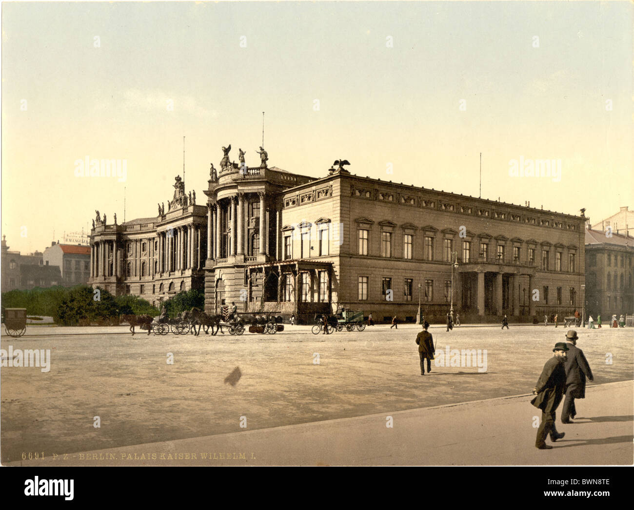 Berlin Palace of William Germany Europe Photochrom about 1900 German Empire history historical historic Wilh - Stock Image