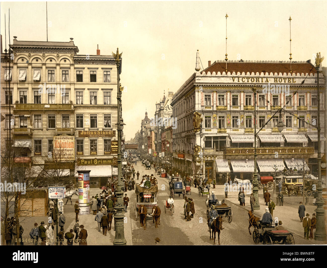 Berlin Victoria Hotel Unter den Linden Germany Europe Photochrom about 1900 German Empire history historical - Stock Image