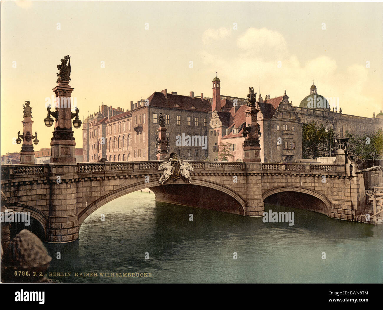 Berlin Emperor William Bridge Germany Europe Photochrom about 1900 German Empire history historical historic - Stock Image