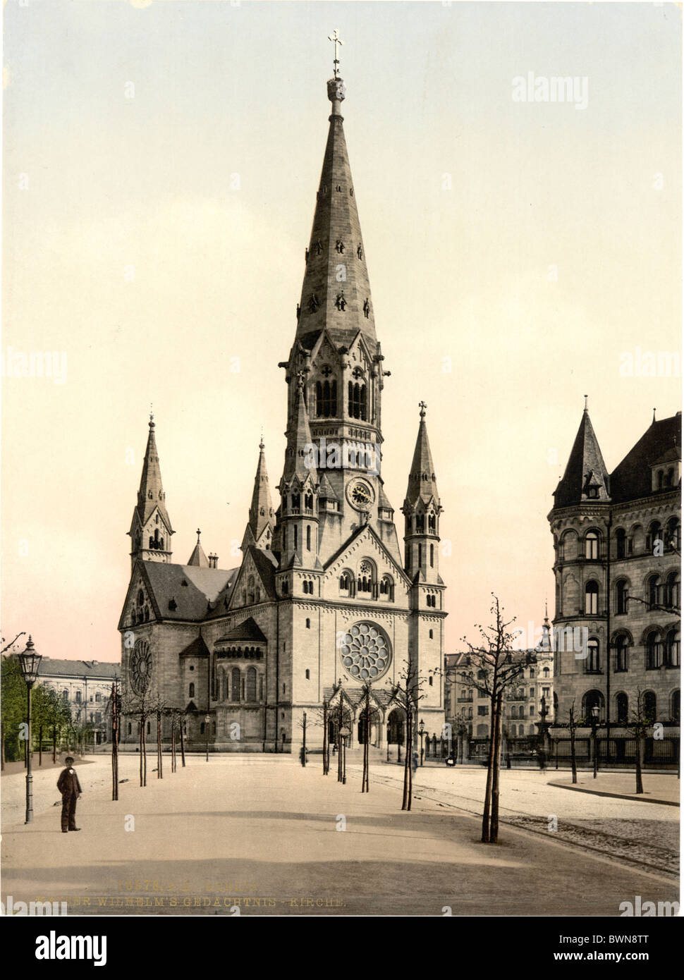 Emperor Wilhelm Memorial Church Germany Europe Photochrom about 1900 German Empire history historical historic - Stock Image