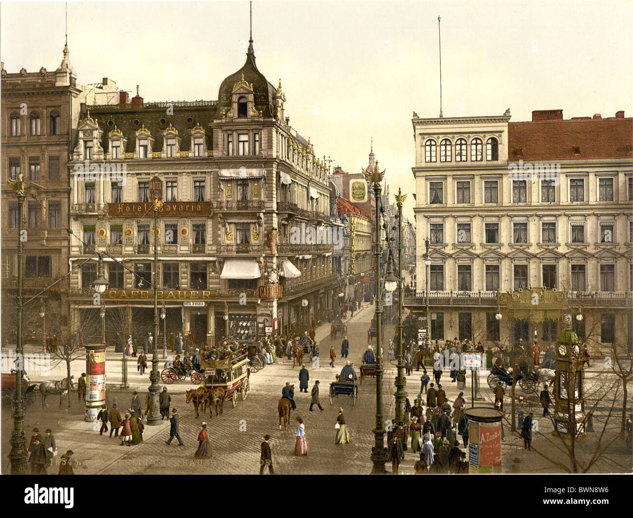 Cafe Bauer Unter den Linden Berlin Germany Europe Photochrom about 1900 German Empire history historical his - Stock Image