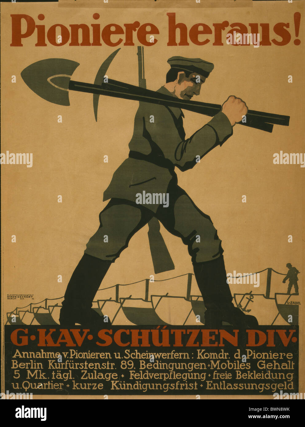 1918 Poster soldier carrying shovel pickax rifle Berlin history historical historic propaganda German Empi - Stock Image
