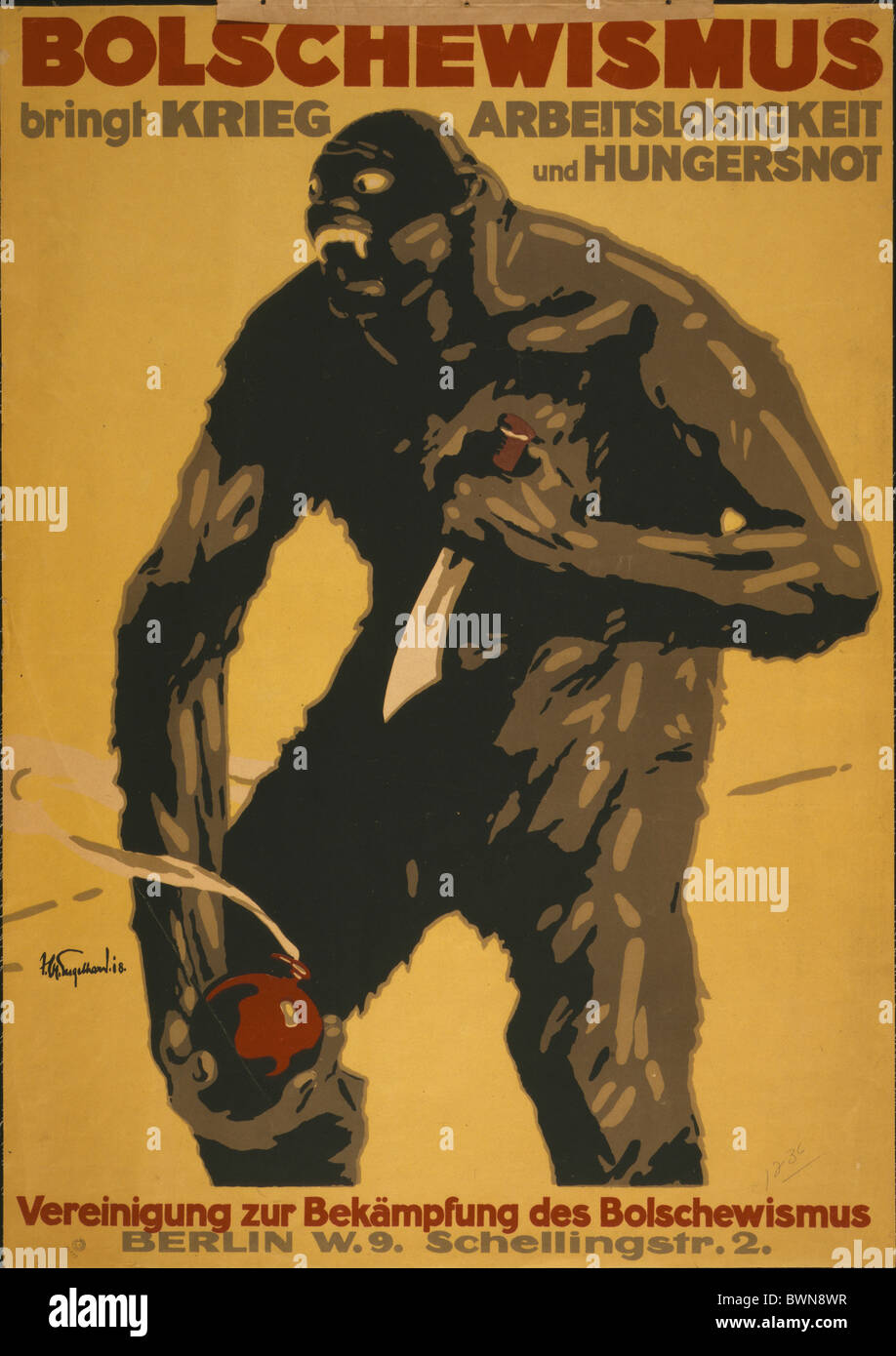 1918 Bolschewism brings war unemployment monster bomb starvation Germany Europe Berlin history historical h - Stock Image
