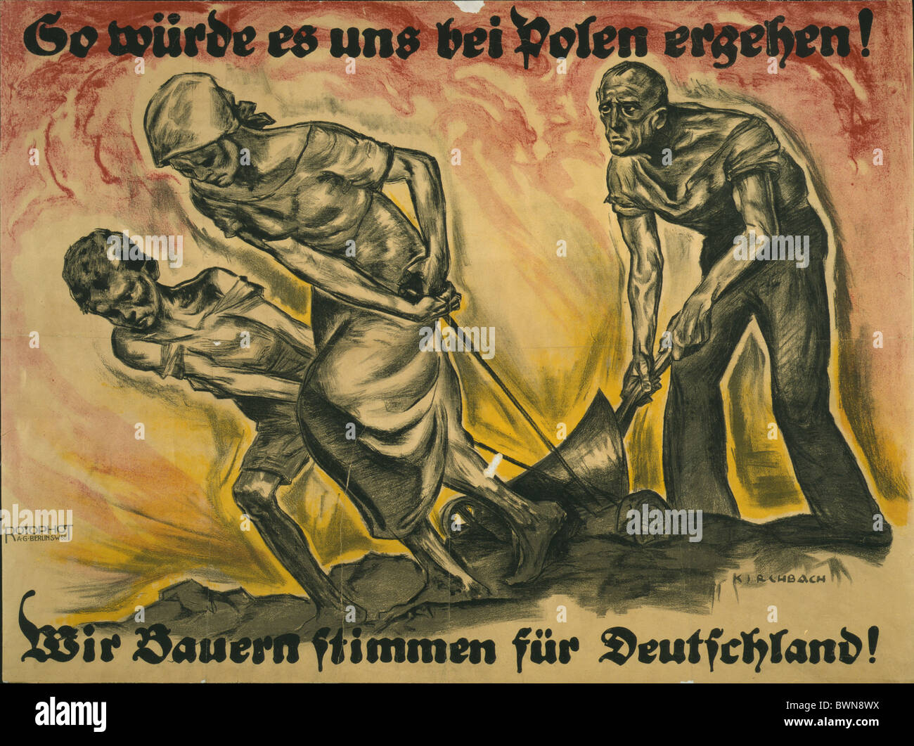 Germany Europe 1920 Propaganda against Poland history historical historic Weimar Republic German Reich farme - Stock Image