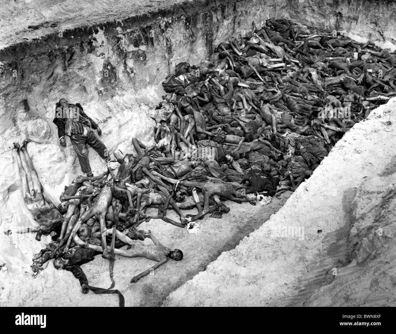 World War II Bergen-Belsen concentration camp Germany Europe April 1945 history historical historic prisoners - Stock Image