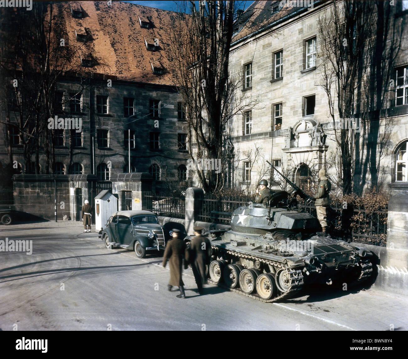 Nuremberg 1946 International Military Tribunal October 1 Court House International War Crimes Trial US tank Ge - Stock Image