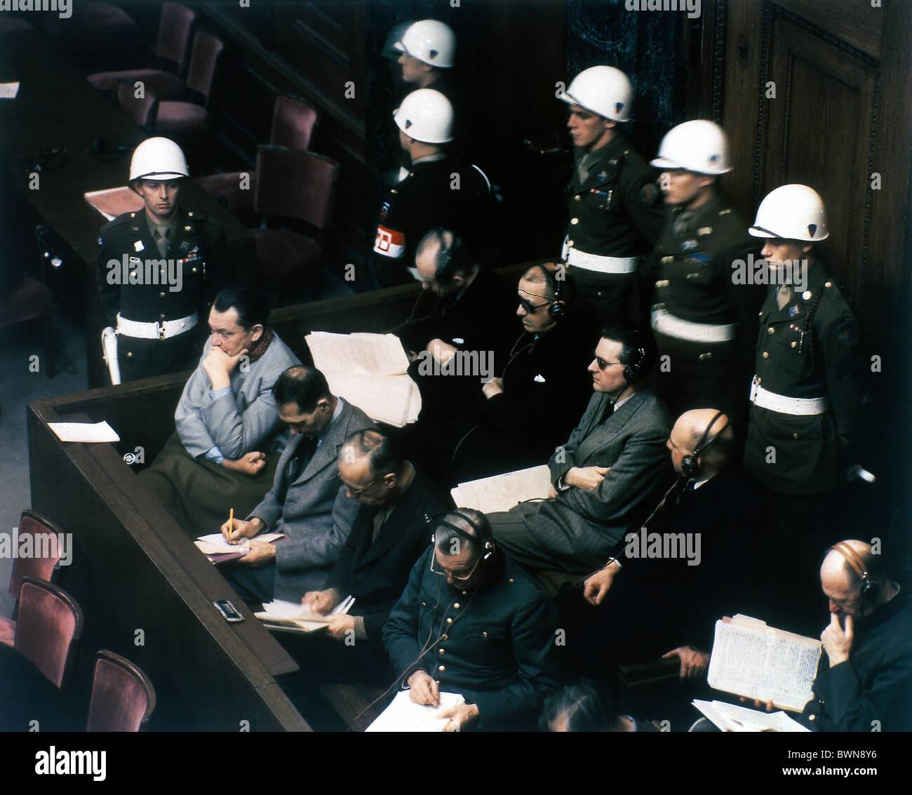 Nuremberg 1946 International Military Tribunal October 1 Court House Room 600 defendants International War Crim - Stock Image