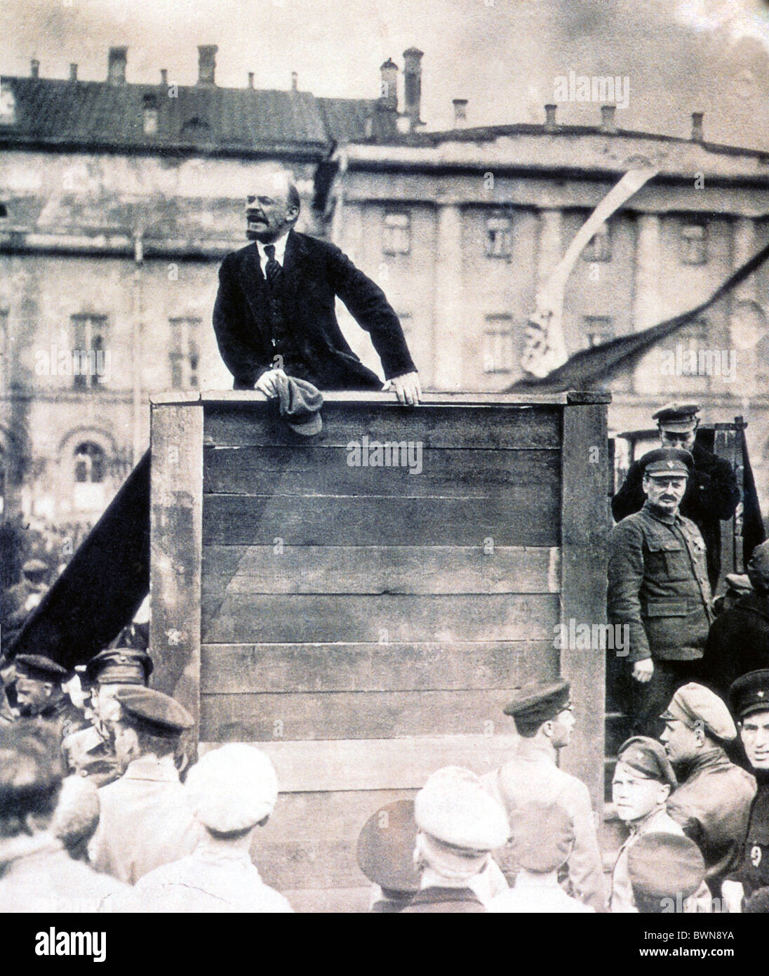 Vladimir Lenin May 5 1920 Bolschoi theatre Moscow speaking troops against Pilsudski army against Poland woode - Stock Image