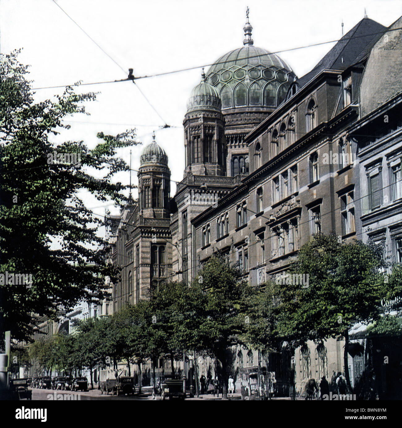 Berlin 1920 New synagog by Eduard Knoblauch architecture Oranienburgerstrasse history historical historic jew - Stock Image