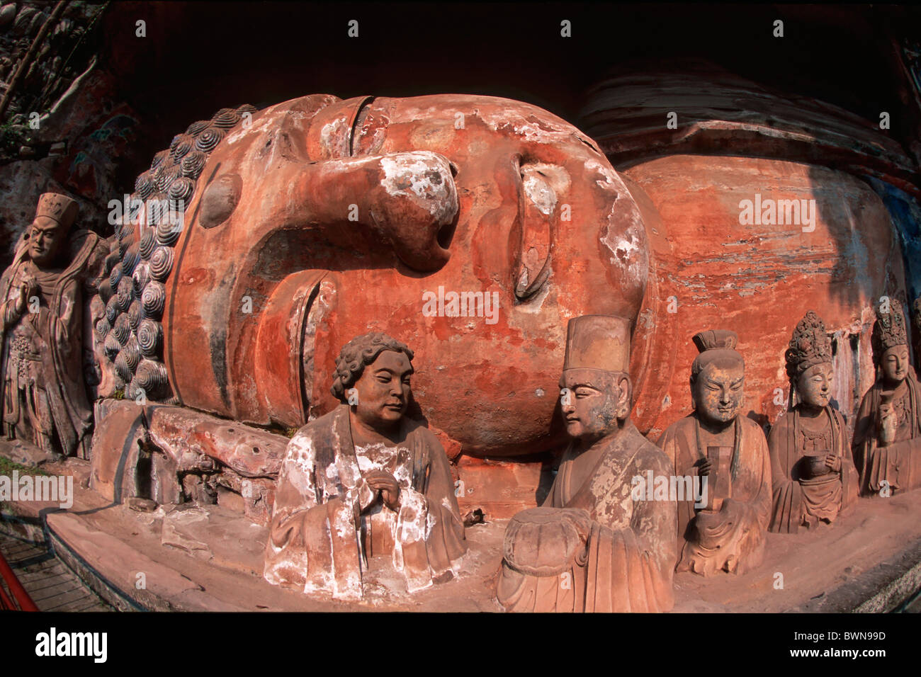 China Asia Cave Nr. 11 Buddha Sakyamuni Entering Nirvana Dazu Rock Carvings sculptures Tang Dynasty Baodingshan - Stock Image