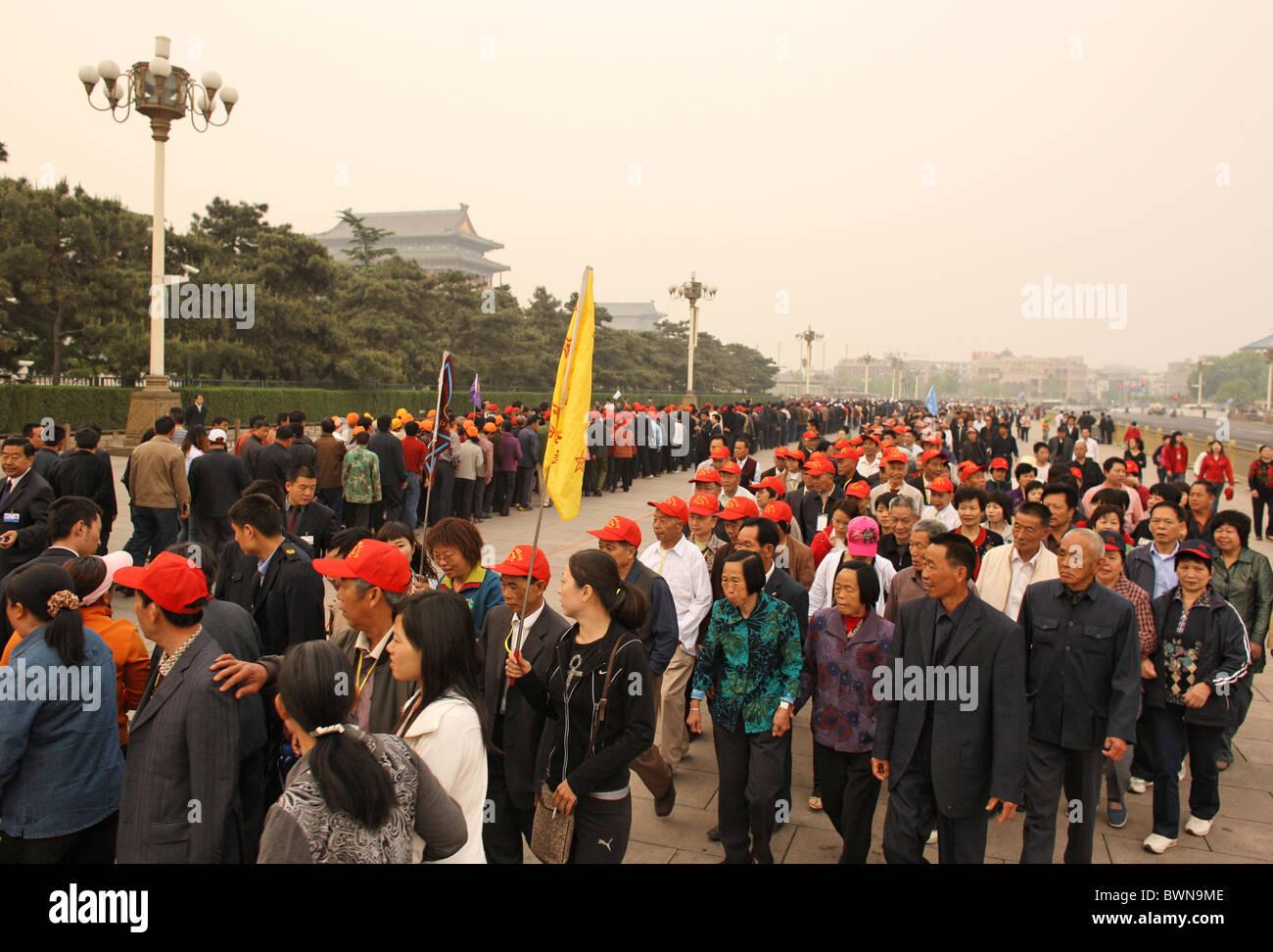 China Asia Peking Beijing Beijing Tian'anmen April 2008 Tiananmen Gate party group parties groups Chinese - Stock Image