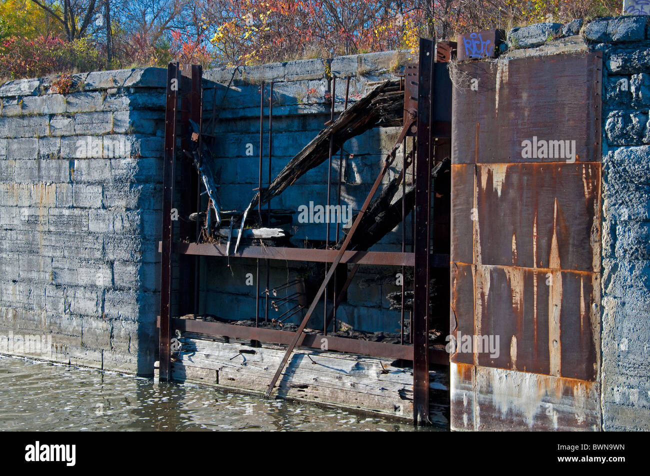 A deteriorating gate on the Soulange Canal. - Stock Image