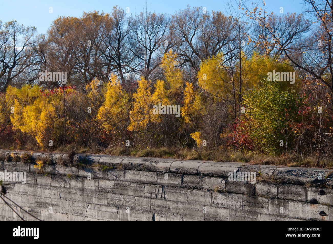 A crumbling wall along the Soulange Canal - Stock Image