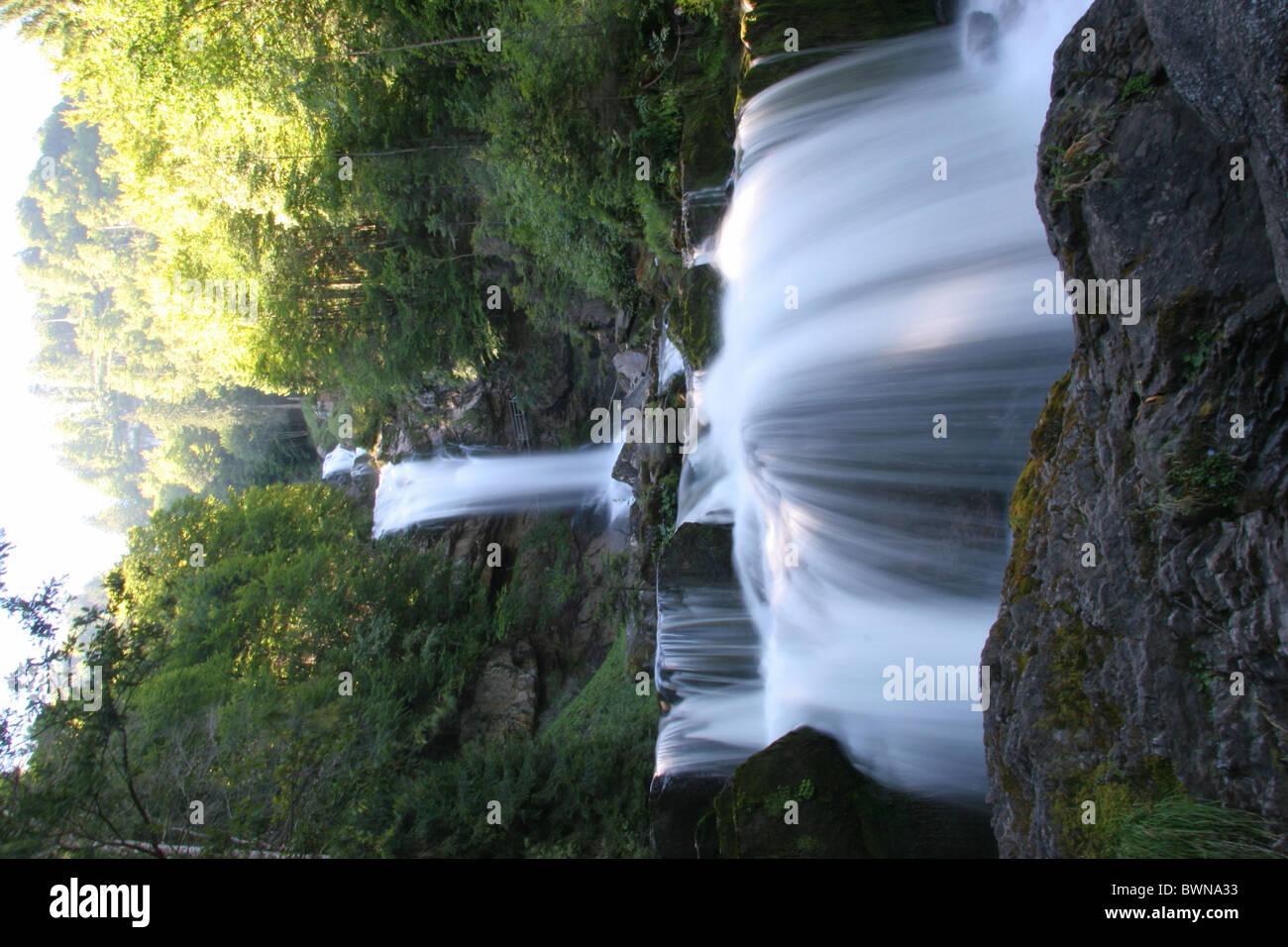 Switzerland Europe Brienz Giessbach falls Bernese Oberland Canton Berne Bern Giessbachfalle Waterfall landsca Stock Photo