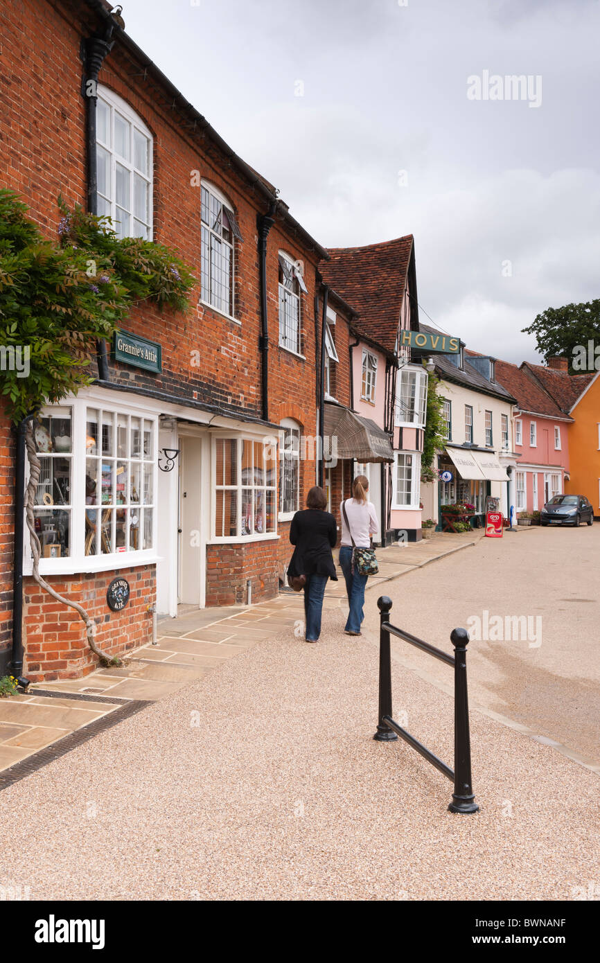 Shoppers in the Suffolk Market town of Lavenham - Stock Image