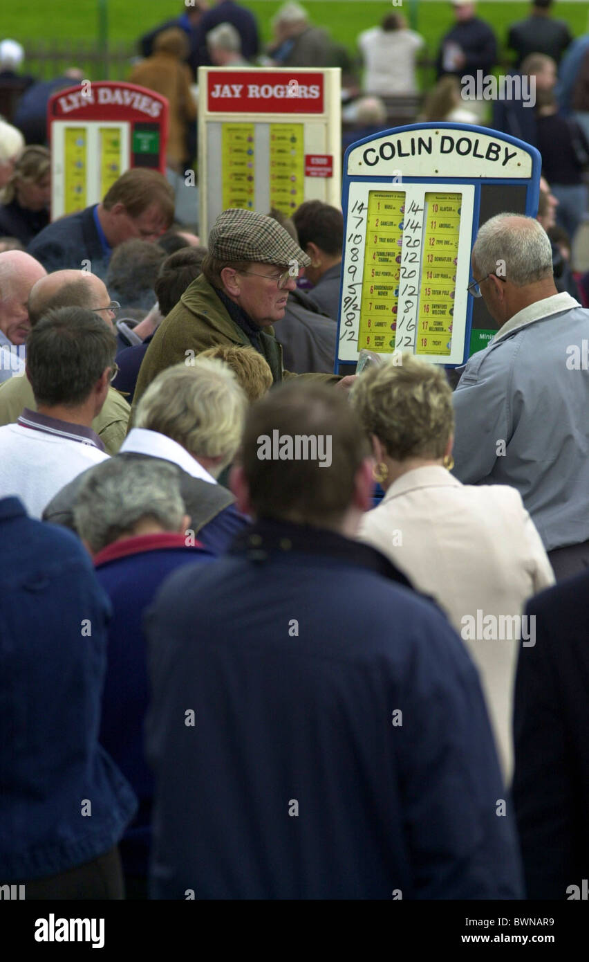 Bookies taking bets at Newmarket Races at the Rowley Mile - Stock Image