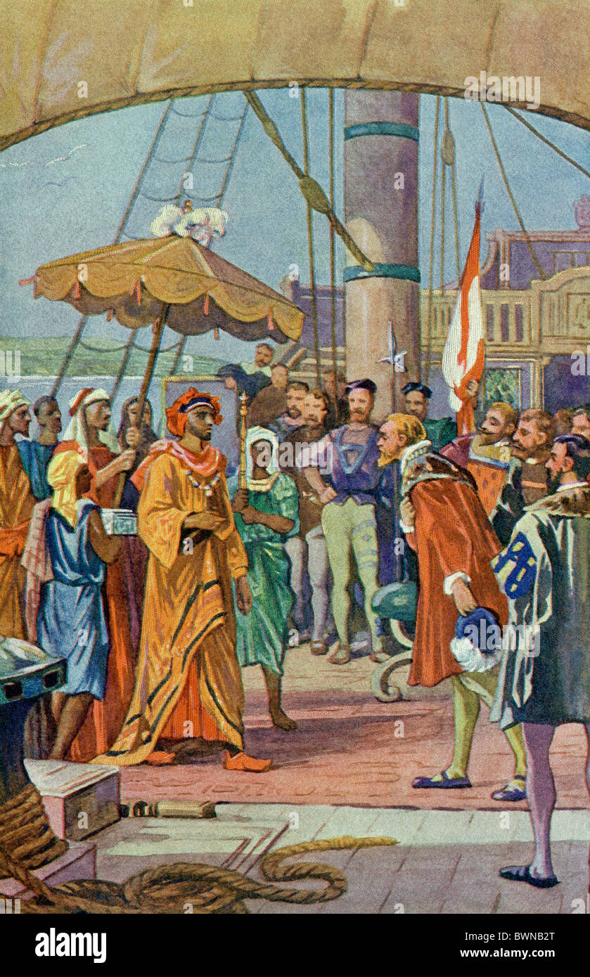 Here Sir Francis Drake is seen in the Moluccas, a group of islands in the southwest Pacific, welcoming the sultan - Stock Image