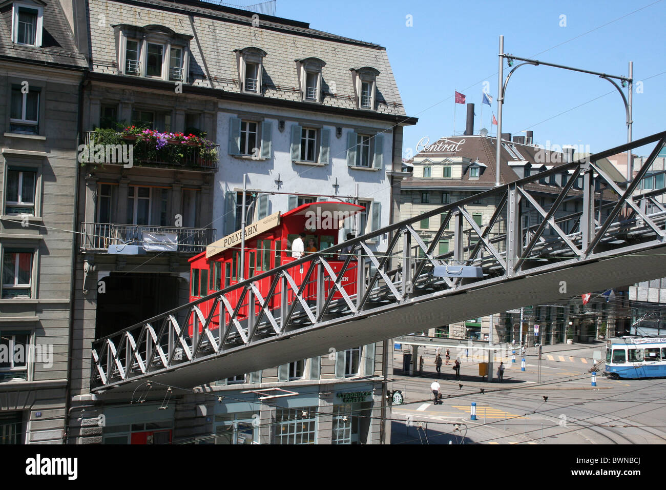 Switzerland Europe Zurich city Polybahn Zurich funicular railway cable car historic town Stock Photo