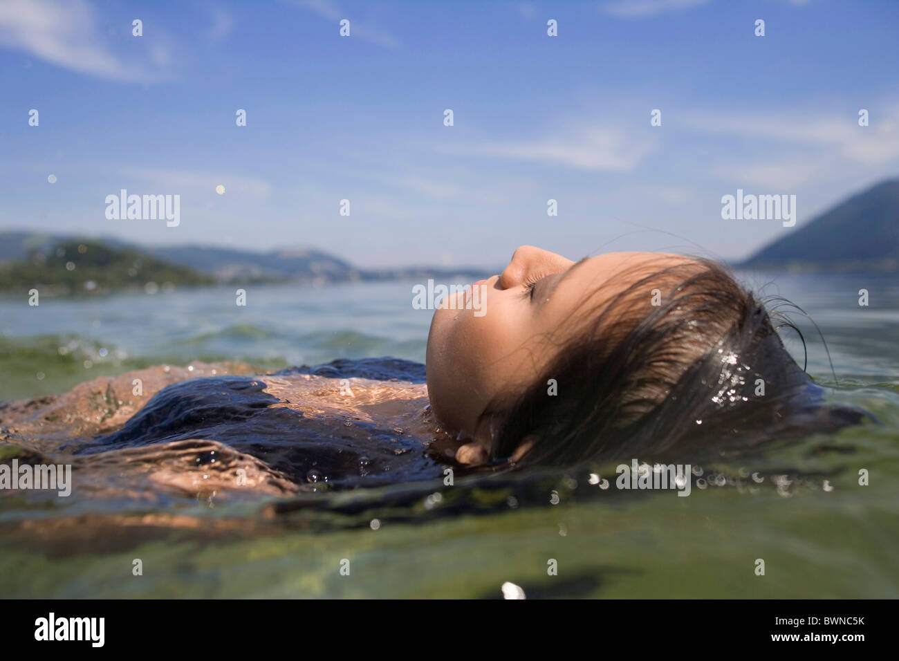 Girl water bikini bath bathing young woman summer recreation lake ...