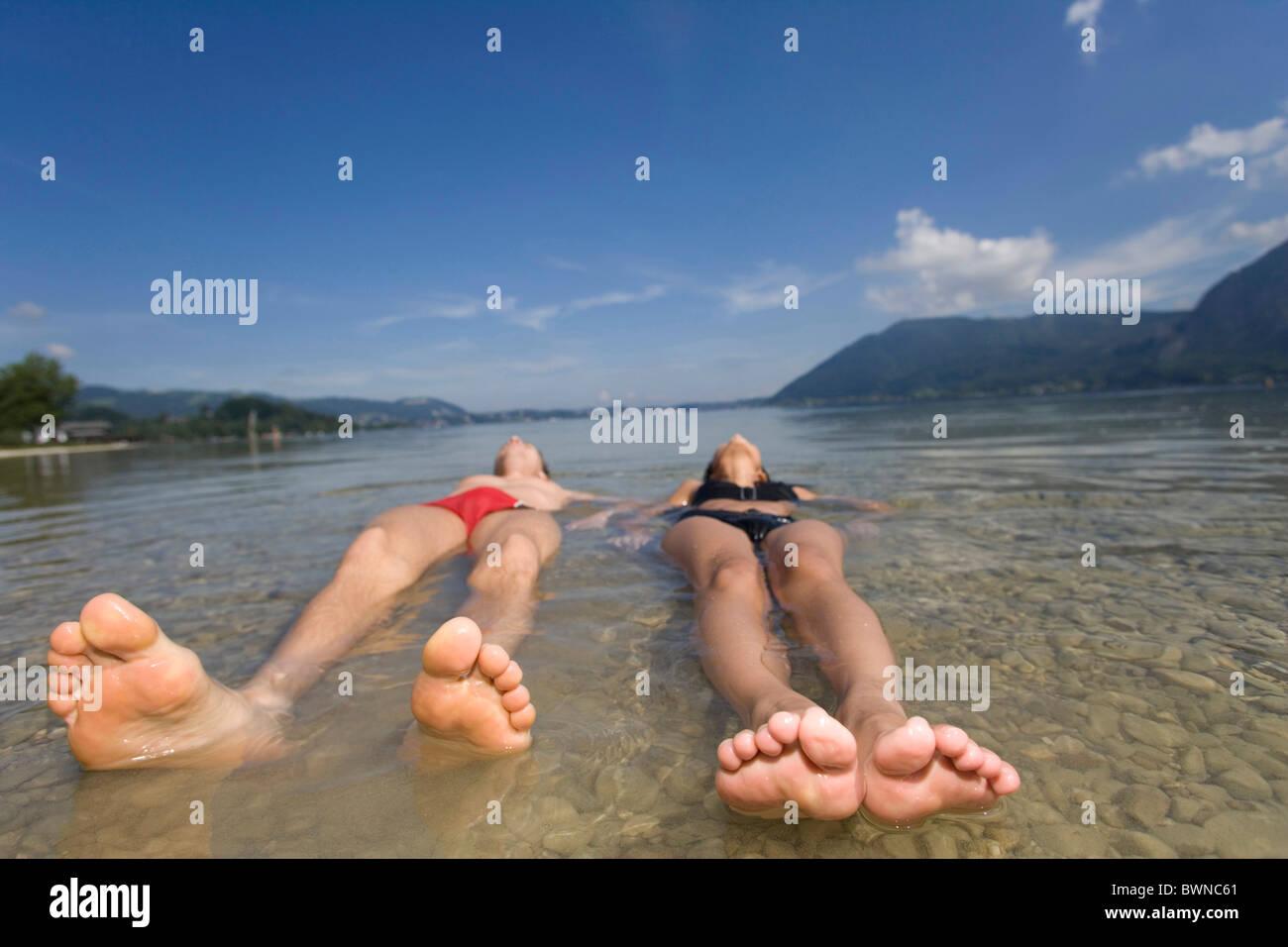 Girl water bikini bath bathing young woman couple man summer Stock ...