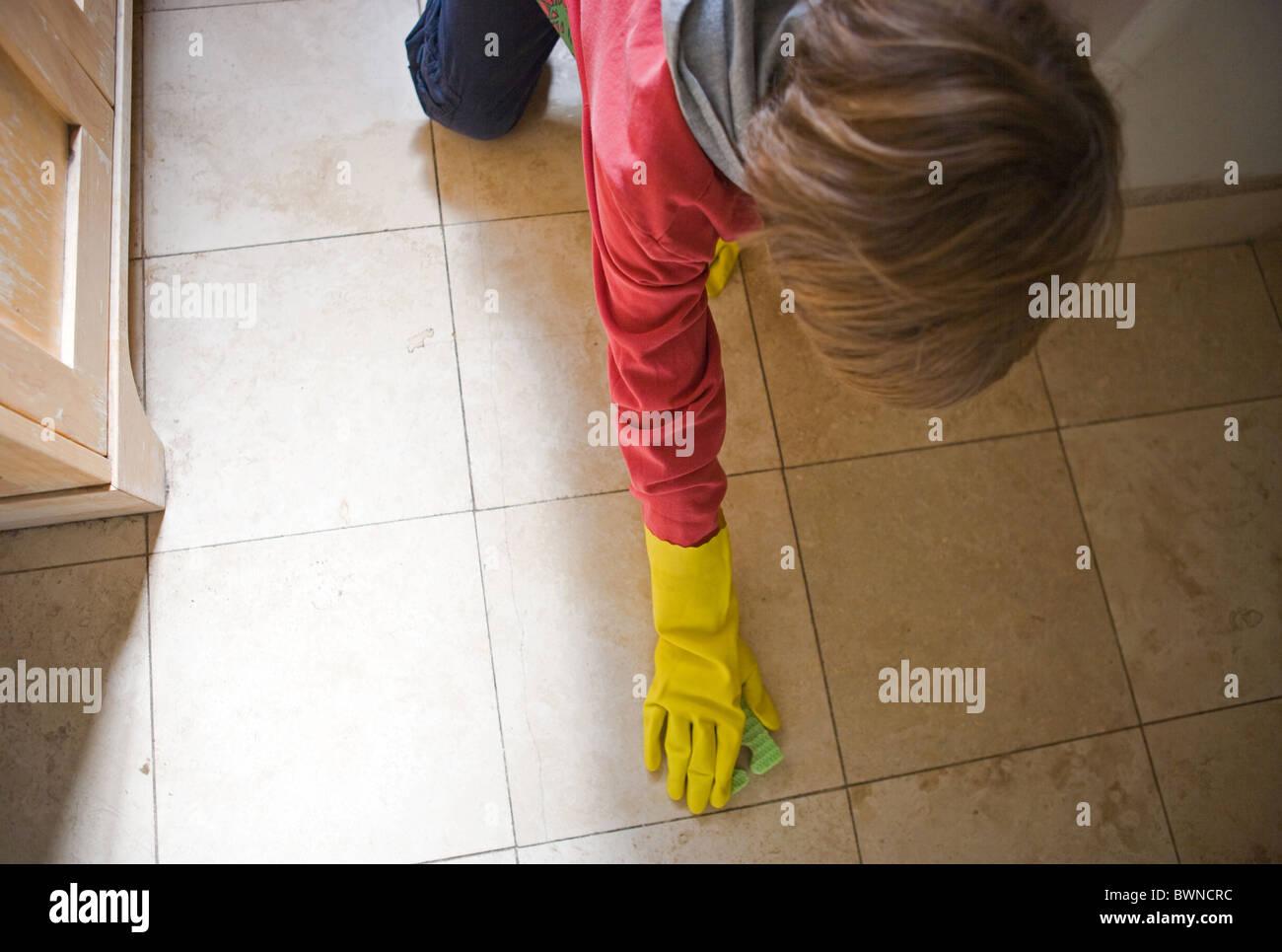 Cleaning Bathroom Floor Stock Photos & Cleaning Bathroom