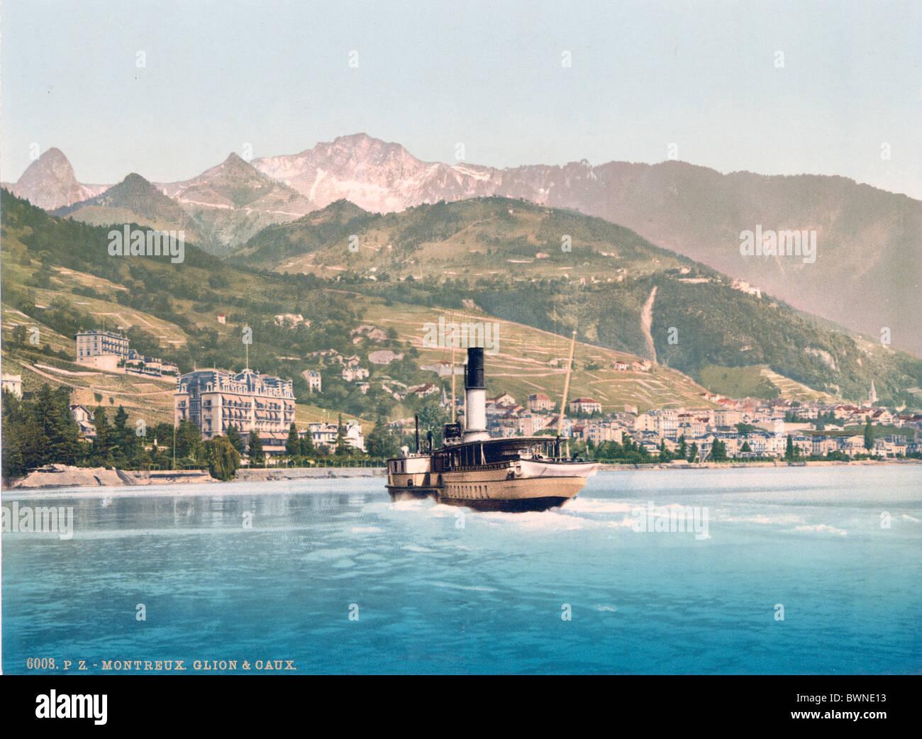 Switzerland Europe Montreux Glion et Caux Lake Geneva Photochrom history historic historical 1890-1910 ship - Stock Image