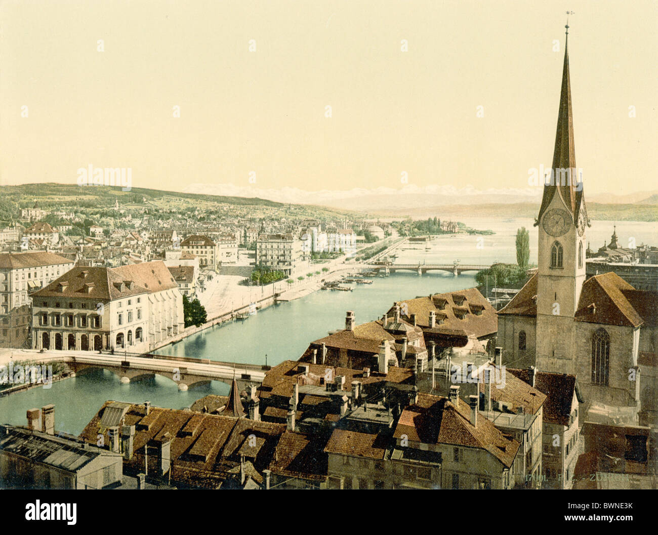 Switzerland Europe town Zurich St. Peter church lake alps Photochrom history historic historical 1890-1910 - Stock Image