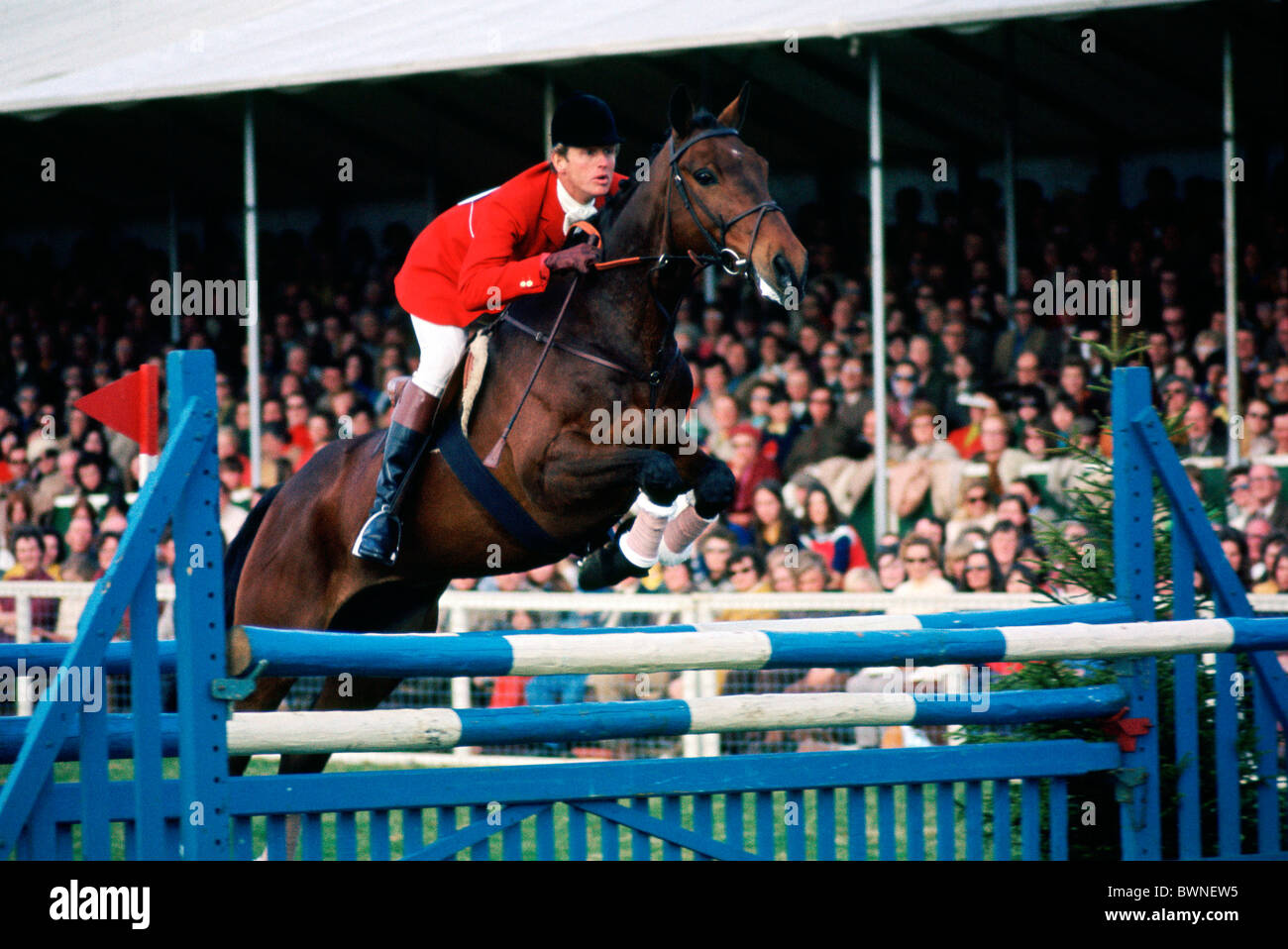 Richard Meade competing in the Badminton Horse Trials - Stock Image