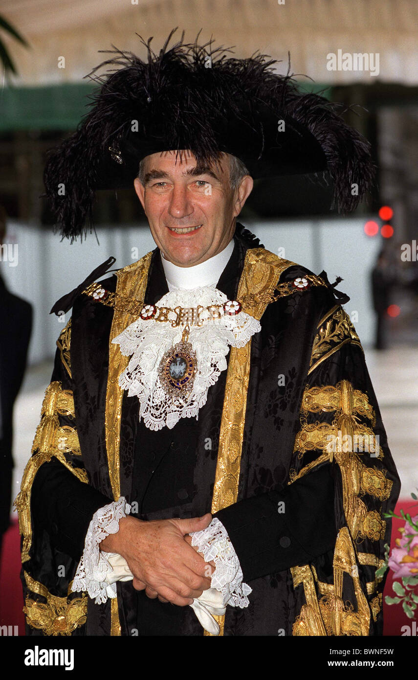 THE LORD MAYOR OF LONDON AT THE GUILDHALL FOR A CORPORATION OF LONDON OFFICIAL LUNCHEON - Stock Image