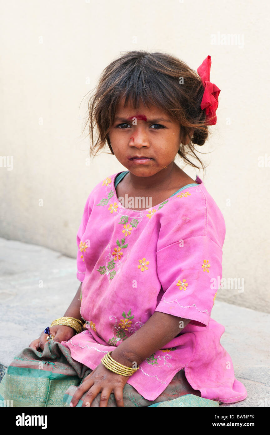Young poor lower caste Indian street girl. Andhra Pradesh, India Stock Photo
