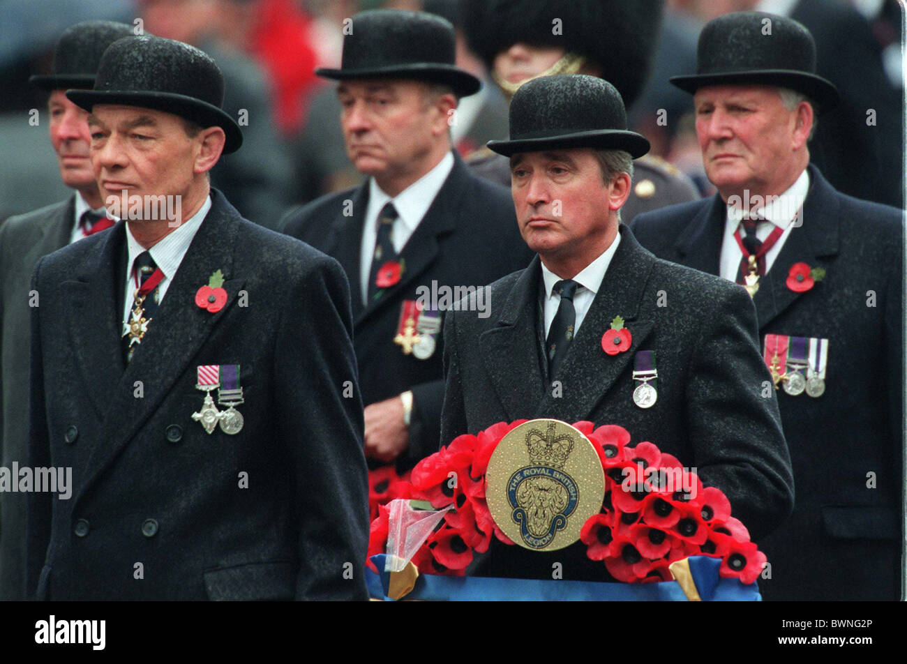 WAR VETERANS IN THE PARADE ON REMEMBRANCE DAY AT THE CENOTAPH IN LONDON - Stock Image