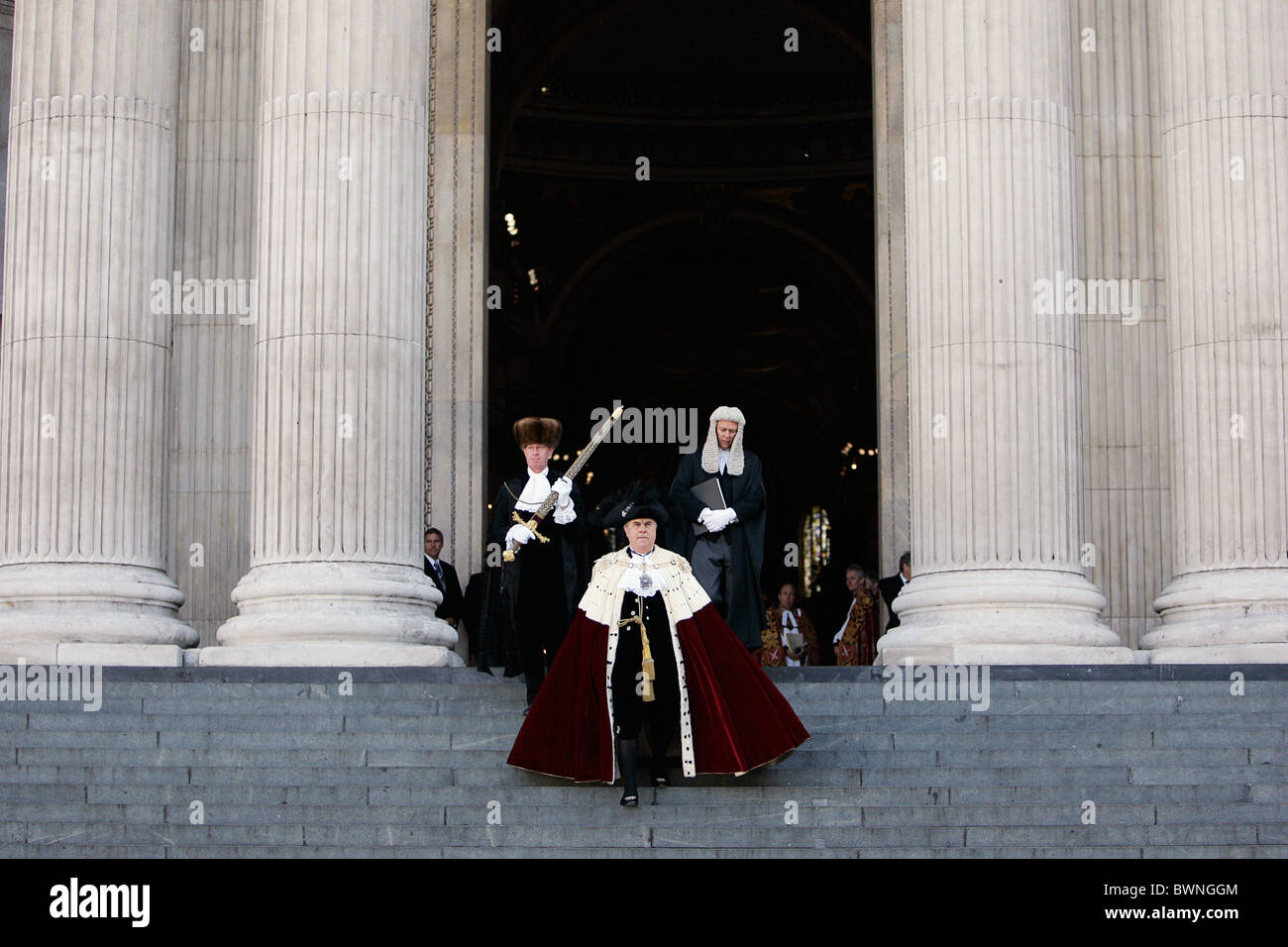 The Lord Mayor of London, David Brewer, in procession leaves St Paul's Cathedral in London Stock Photo