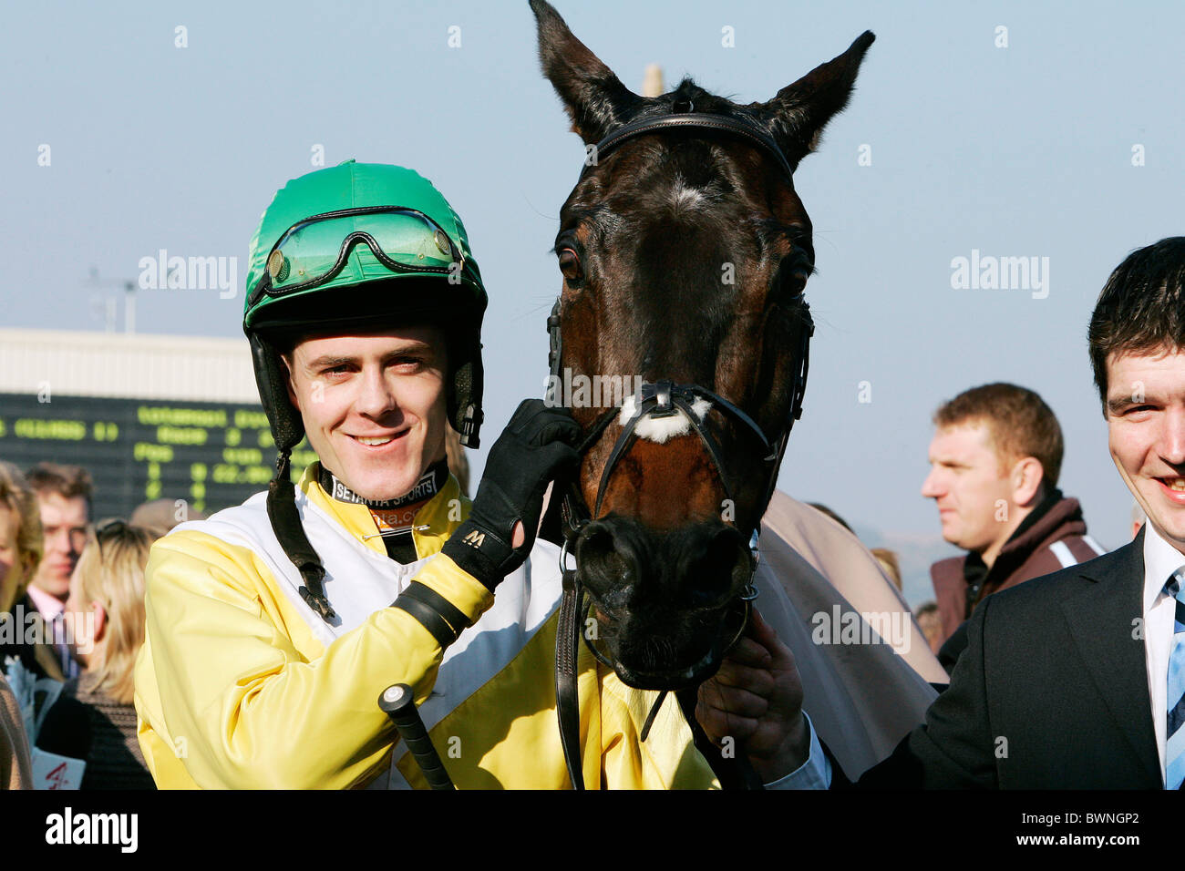 The winners of the Championship Chase, jockey Andrew McNamara and horse Newmill, at Cheltenham Races National Hunt - Stock Image