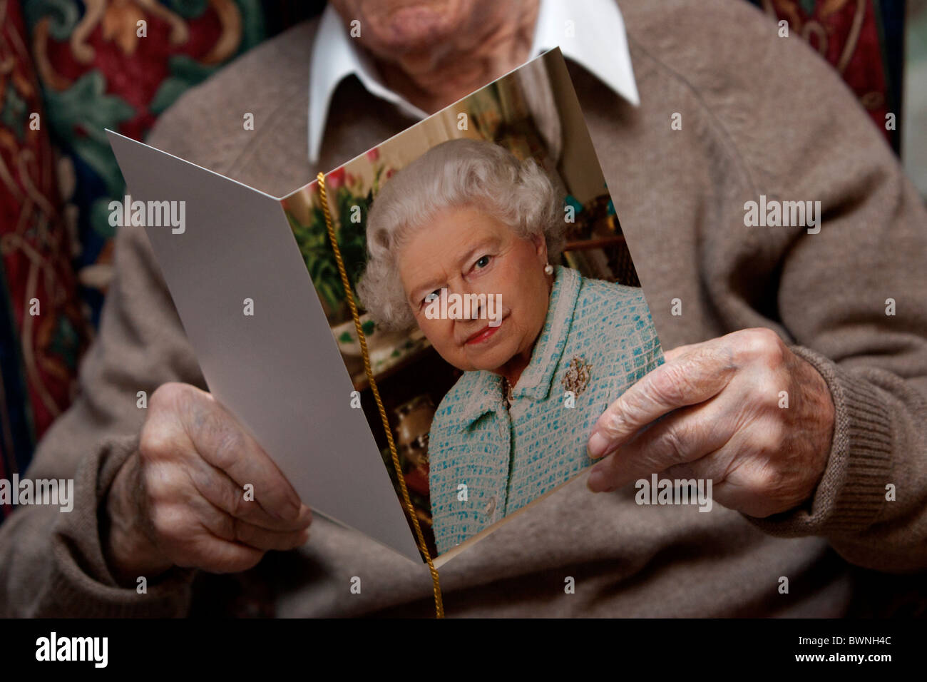 A 100 Year Old Man Pictured On His Birthday Holding Telegram From The