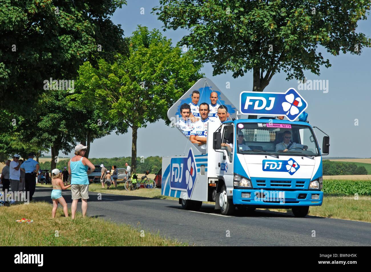 France de Jeux, FDJ, vehicle in the Tour de France publicity caravan near Reims in the Marne (51) departement of - Stock Image