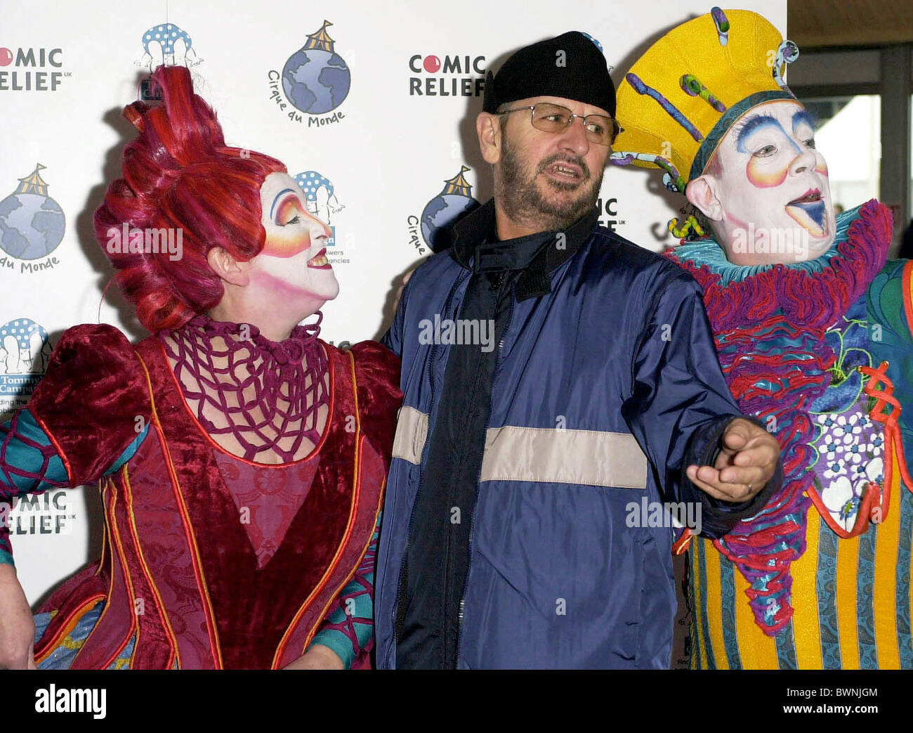 RINGO STARR OF THE BEATLES AT CIRQUE DU SOLEIL CIRCUS IN BATTERSEA PARK, LONDON IN AID OF CHARITY - Stock Image