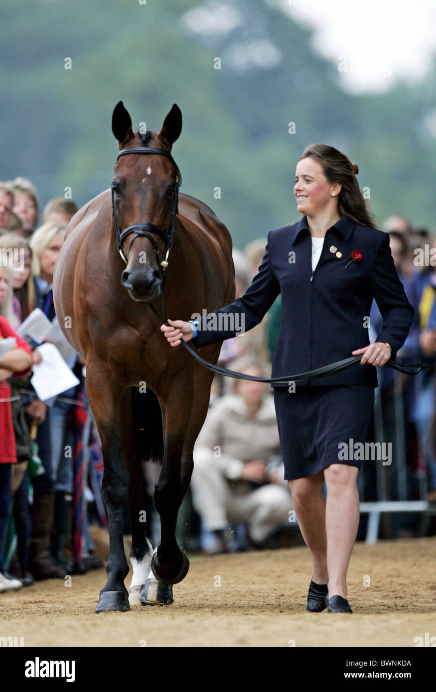 British rider, Pippa Funnell with horse Ensign trotting up at vet inspection at  Blenheim FEI Petplan European Eventing - Stock Image