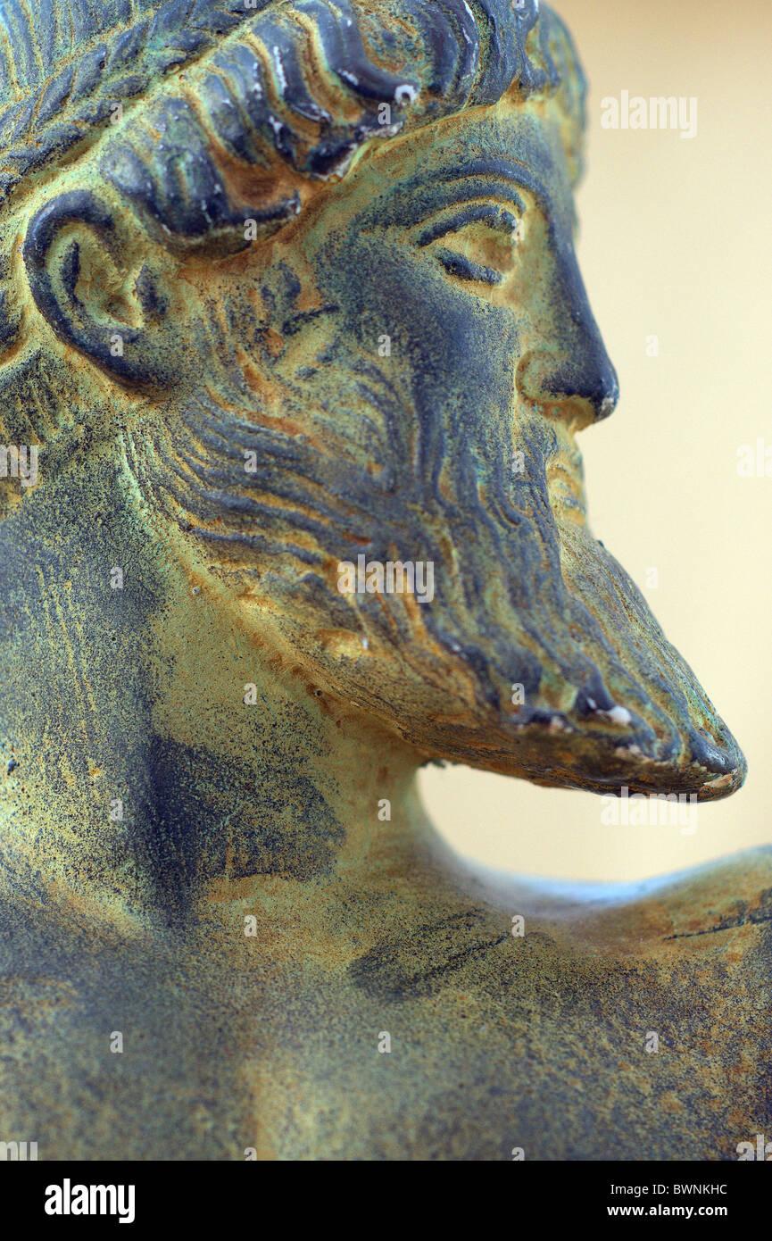 Bust head of Zeus Jupiter ancient greek roman god - Stock Image