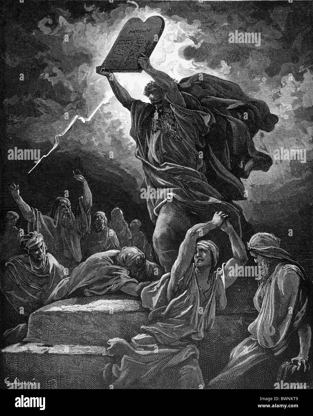 Gustave Doré; Moses Breaking the Tablets of the Law; Black and White Engraving - Stock Image