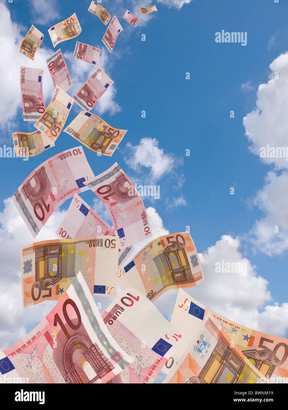 euros flyng away - Stock Image