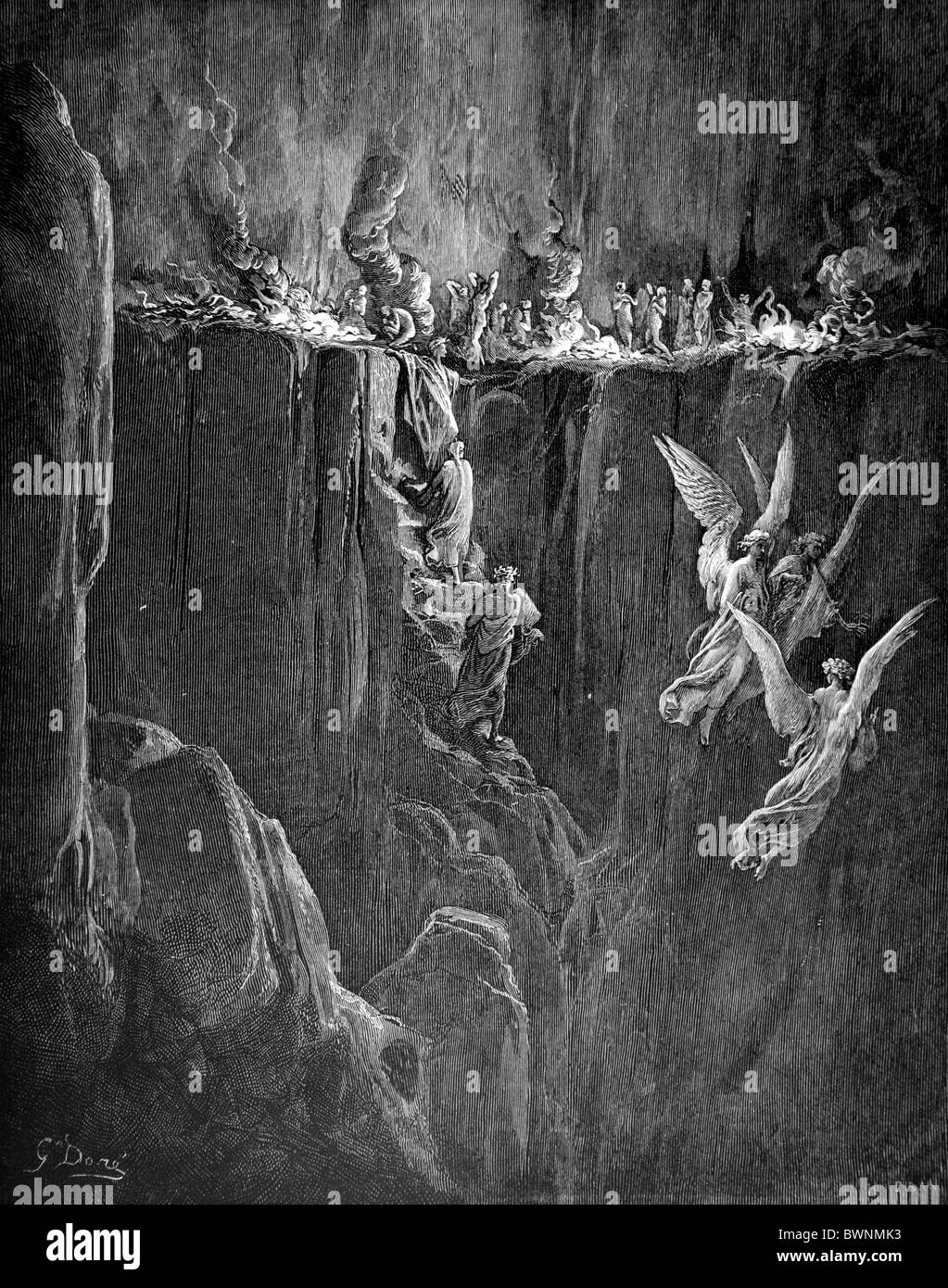Gustave Doré; The Perilous Pass on the eighth cornice of Purgatory from Dante Alighieri's Divine Comedy Stock Photo