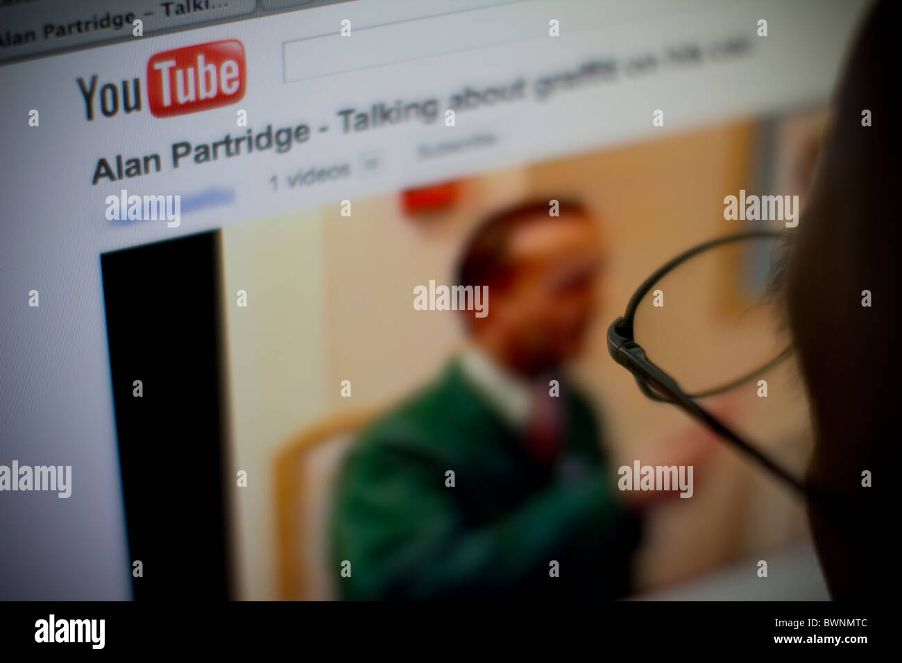 internet browser viewing youtube you tube website - Stock Image