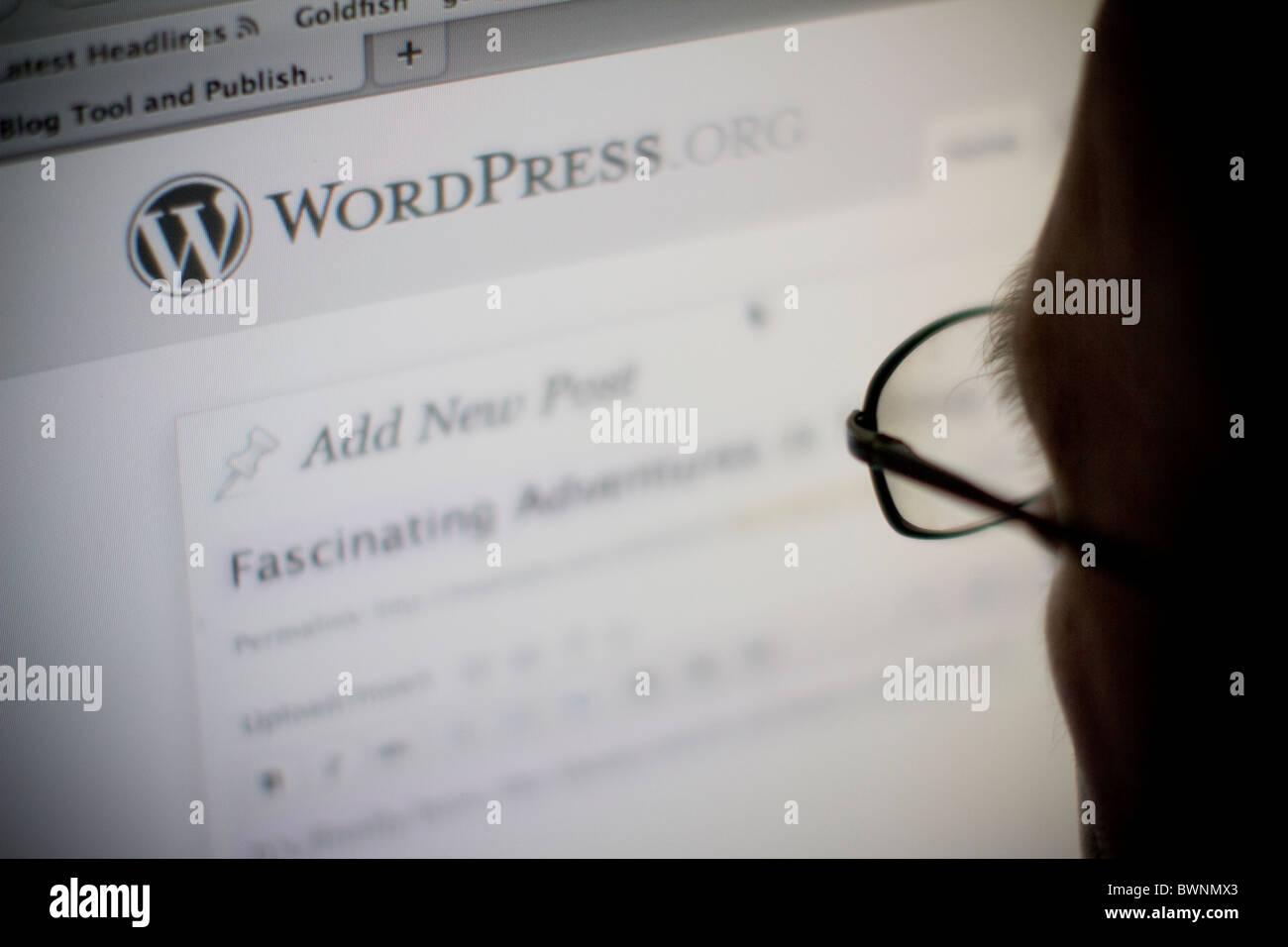 internet browser viewing wordpress website - Stock Image