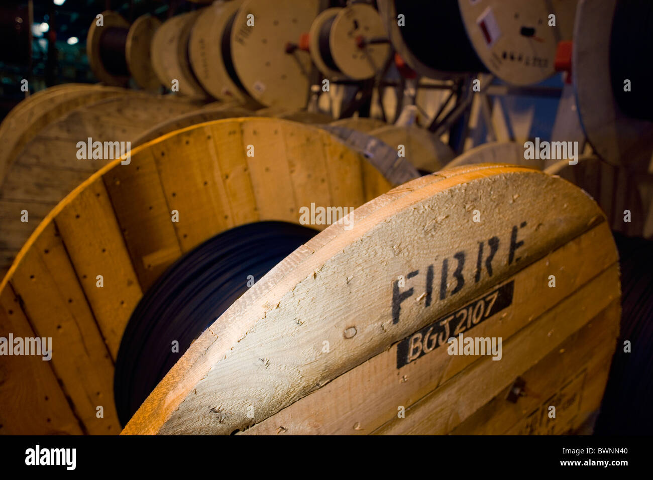 Fibre Optic cable drums - Stock Image