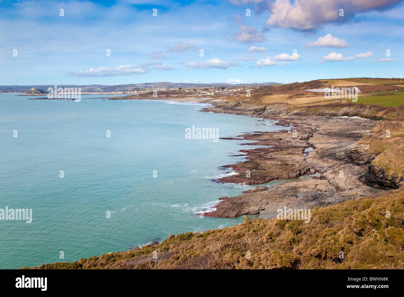 Stackhouse Cove; Cornwall; very low tide - Stock Image