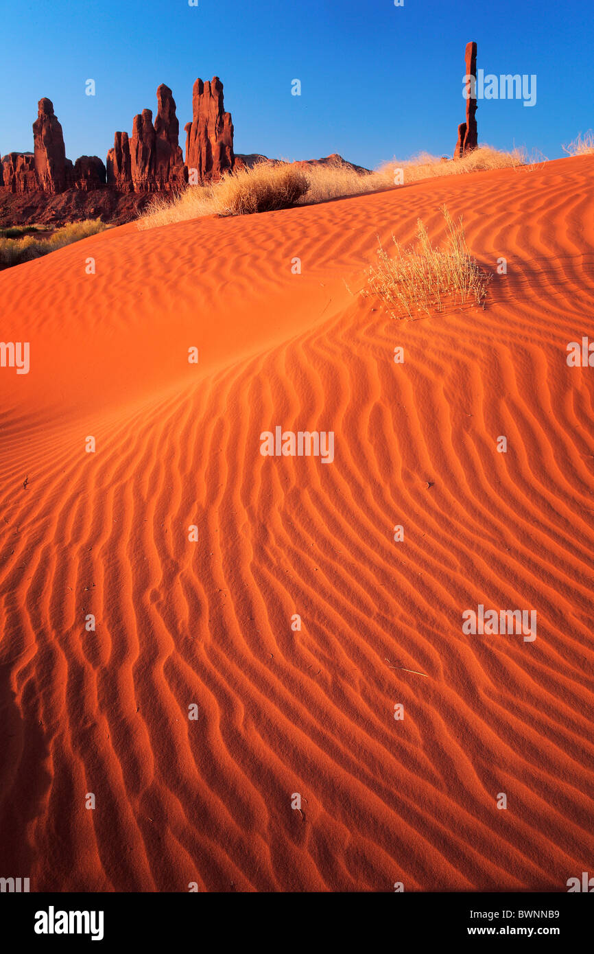 Sand dunes at Yei-bi-Chai rocks in Monument Valley, AZ - Stock Image