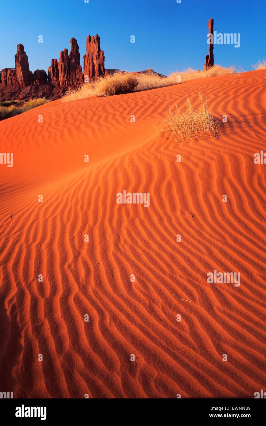 Sand dunes at Yei-bi-Chai rocks in Monument Valley, AZ - Stock Image