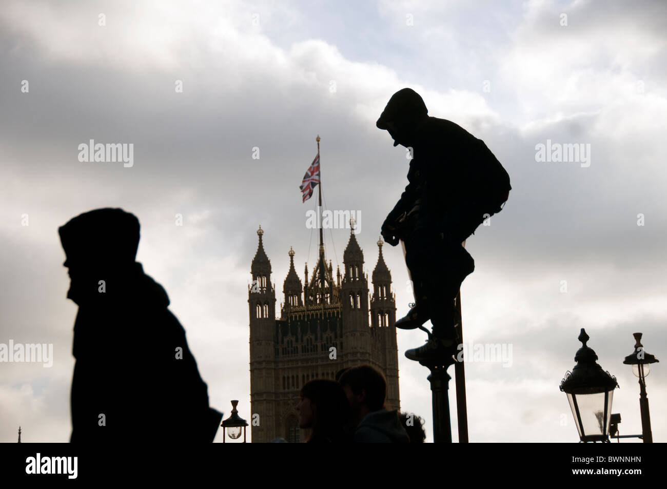 Student Protest about increase in fees ended in violence and police kettling in Whitehall  London 24.11.10 - Stock Image